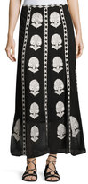 Figue Embroidered Silk Maxi Skirt, Onyx