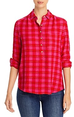 BeachLunchLounge Drew Plaid Popover Top