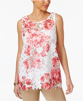 Charter Club Petite Floral-Lace Swing Top, Created for Macy's