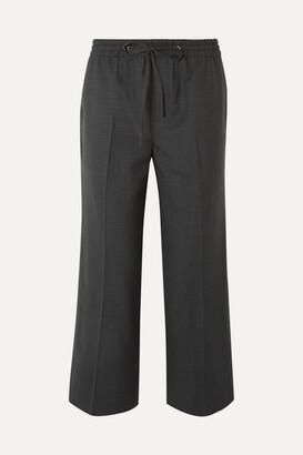 Miu Miu Cropped Checked Wool Pants - Gray