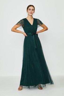 Coast Tulle V-NeckTie Belt Maxi Dress