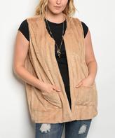 Beige Chevron Faux Fur Vest - Plus