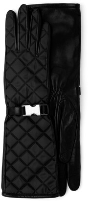 Prada Quilted Buckled Gloves
