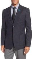 Ted Baker 'Tightlines' Trim Fit Windowpane Wool & Cotton Sport Coat