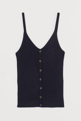 H&M Rib-knit Tank Top - Blue