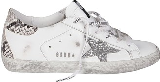 Golden Goose White And Grey Leather Super-star Sneakers