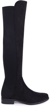 Linzi STACIA - Black Suede Long Boot with Back Lycra Panel