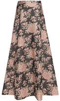Alice + Olivia Flared Metallic Brocade Maxi Skirt