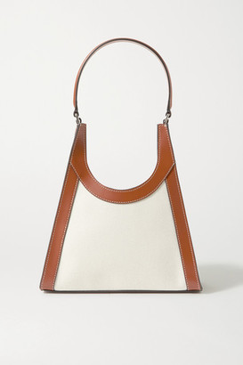 STAUD Rey Croc-effect Leather-trimmed Canvas Tote