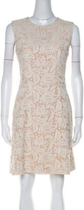 Alexander McQueen Cream Lace Sleeveless Pleated Short Dress M