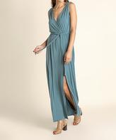 Blu Heaven Dusty Teal Slit-Skirt Sleeveless Surplice Dress