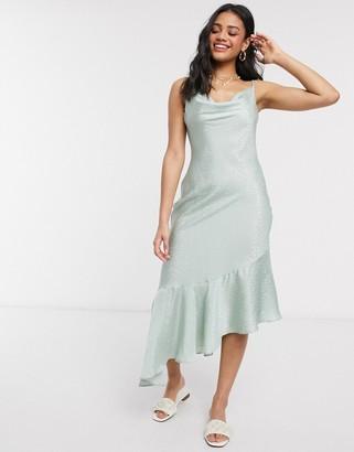 Qed London cowl neck asymmetric satin midi dress in mint