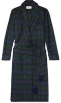 Derek Rose Black Watch Checked Wool-twill Robe - Blue