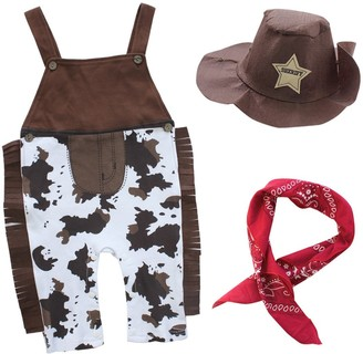 iiniim Kids Boys Girls Cowboy Hat Western Hat with Paisley Bandanna Halloween Dress Up Clothes (12-18 Months