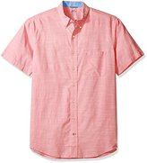 Izod Men's Big and Tall Saltwater Dockside Chambray Solid Short Sleeve Shirt