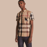 Burberry Short-sleeve Check Stretch Cotton Blend Shirt, Brown