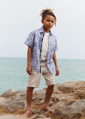 MANGO Linen-cotton blend Bermuda short blue - 6 - Kids