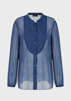 Emporio Armani Silk Blend Crepon Shirt With Placket