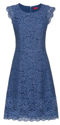 HUGO Floral-lace dress with A-line skirt
