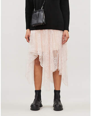 Maje Janelle floral-lace sheer stretch-lace skirt