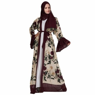Maheegu Dress Muslim Women Cardigans Robe Flower Embroidered Long Cardigan Coat with Belt Middle East Islamic Maxi Dress Full Length Arabic Cocktail Maxi Dress Kimono Kaftan Abaya (Red M)