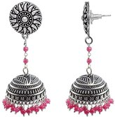 Silvestoo Jaipur Ethnic Oxidized Jewellery-Danglers With Round Studs And Beads Large Jhumka Earrings PG-112208