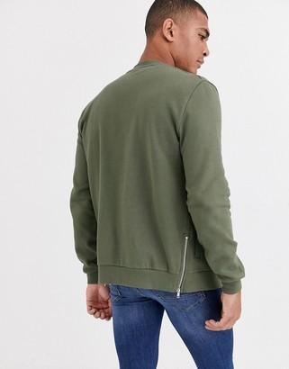 Asos Design DESIGN jersey bomber jacket in khaki with side zips-Green