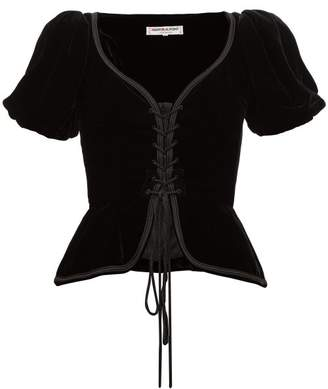 Saint Laurent William Vintage 1977 Velvet Corset Top - Womens - Black