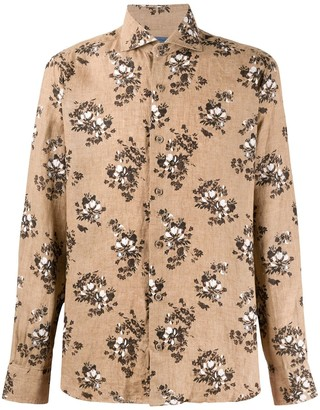 Barba Flower Posey Printed Linen Shirt
