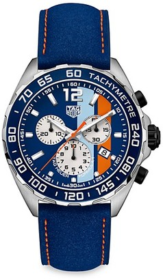 Tag Heuer Formula 1 Special Edition 43MM Stainless Steel & Leather Strap Quartz Tachymeter Chronograph Watch