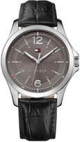 Tommy Hilfiger Men's Essential Black Leather Strap Watch 42mm 1791376