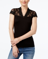 INC International Concepts Petite Lace-Yoke Top, Created for Macy's