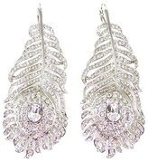 Kenneth Jay Lane Large Crystal Feather Drop Earrings