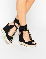 Asos TROPICAL Embellished Lace Up Wedges
