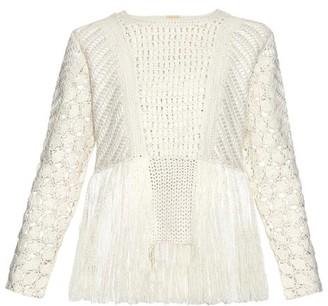 Adam Lippes Fringed Crochet-panel Sweater - Womens - Ivory