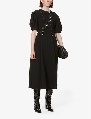 Sportmax Pittore puffed-sleeve stretch-crepe midi dress