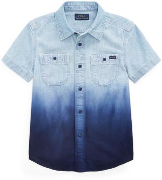 Ralph Lauren Kids Boy's Ombre Chambray Button-Down Shirt, Size 5-7