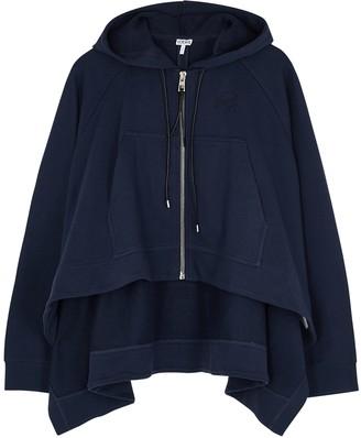 Loewe Navy draped hooded cotton sweatshirt