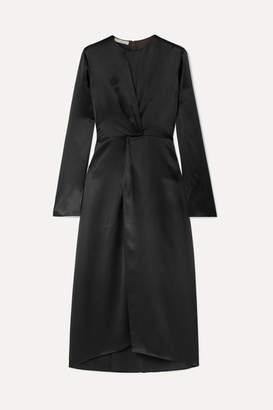 Vince Gathered Silk-satin Midi Dress - Black