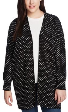 CeCe Plus Size Polka-Dot Open-Front Cardigan