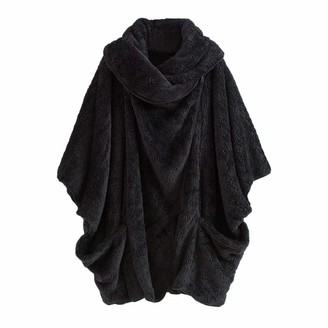 Toamen Women's Coat Womens Jacket Coats Toamen Winter Warm Turtleneck Big Pockets Cloak Vintage Oversize Parka Outwear Overcoat Outercoat Coats(Black 18)