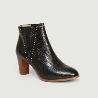 Monsieur Moustache - Black Croco Leather Jeanne H Boots - 36 | leather | Black Croco