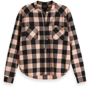 Scotch & Soda Loose Checked Shirt - small - Pink/Black