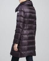 Moncler Asymmetric-Zip Long Puffer Coat, Burgundy