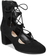 Bar III Percy Lace-Up Block Heel Pumps, Only at Macy's