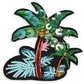 Scripted Embroidered Palm Tree Island Pin