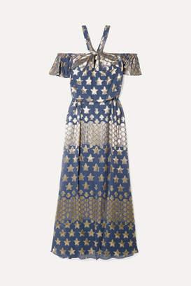 Temperley London Hetty Metallic Fil Coupe Silk-blend Chiffon Halterneck Gown - Blue