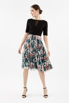 Coast Solid Bodice Tulle Print Skirt Dress