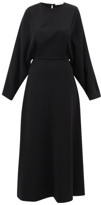 The Row Cobai Panelled Silk And Crepe Maxi Dress - Black