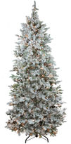 Asstd National Brand 7.5' Pre-Lit Flocked Slim Colorado Spruce Artificial Christmas Tree with Clear Lights